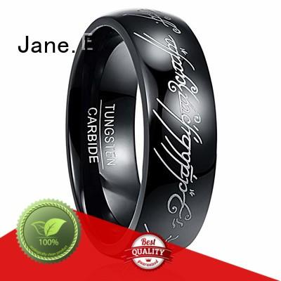 two tones his and hers tungsten wedding bands engraved for gift JaneE