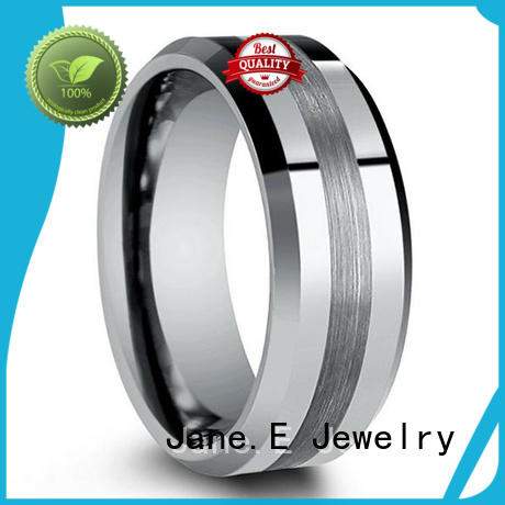 unique design tungsten band rings meteorite engraved for wedding