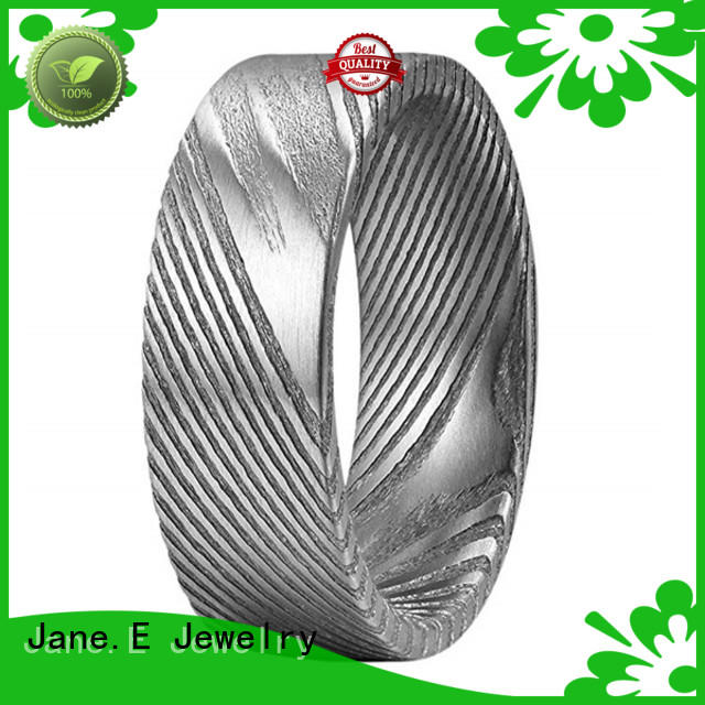 JaneE IP black plated damascus steel ring blanks wholesale for engagement