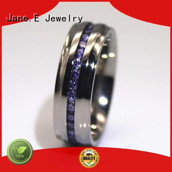JaneE customized steel band ring top quality for weddings