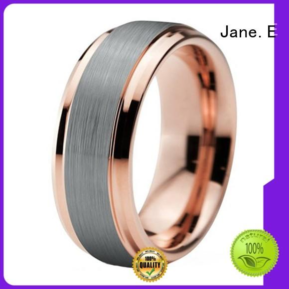 multi colors two tone tungsten ring engraved for wedding JaneE