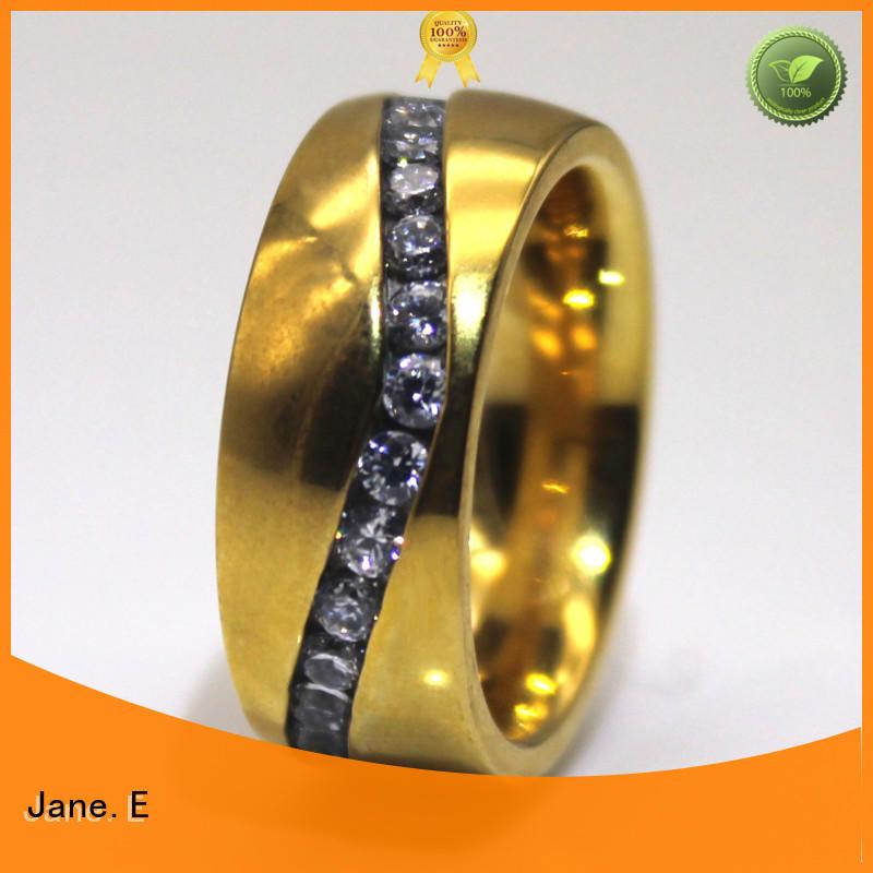 black steel band ring multi colors for weddings JaneE