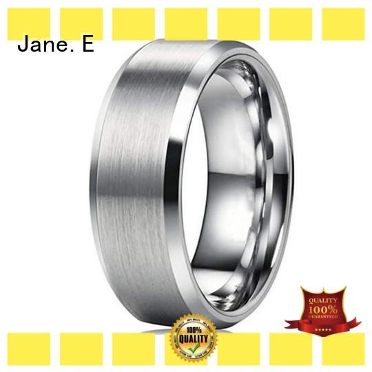JaneE inlay stainless steel wedding rings top quality for decoration