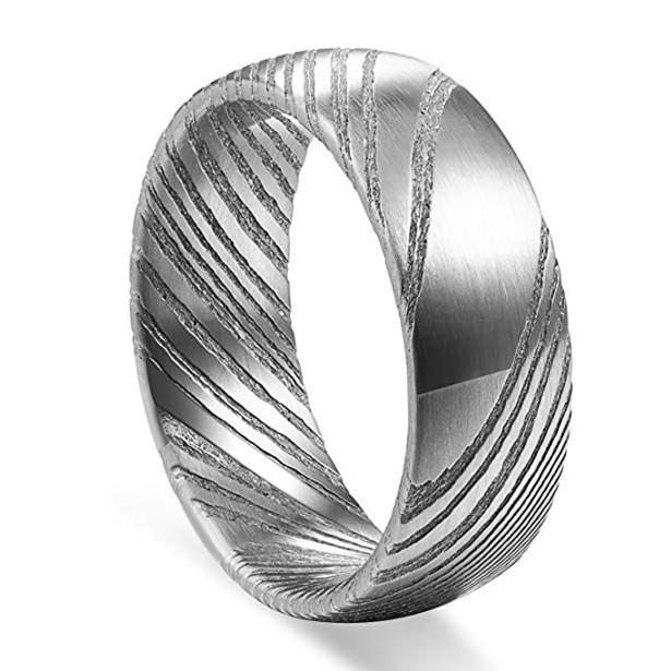 Hot Sale Authentic Etched Damascus Steel Men's Wedding Band 8mm-3