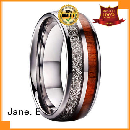 JaneE inlay brushed engraved tungsten rings exquisite for gift