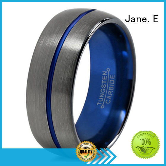 JaneE two tones blue tungsten wedding bands exquisite for wedding