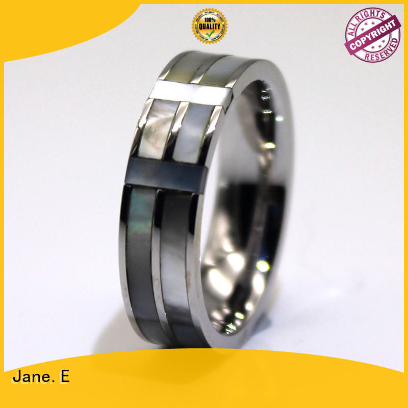 JaneE black stainless steel promise rings for him top quality for decoration