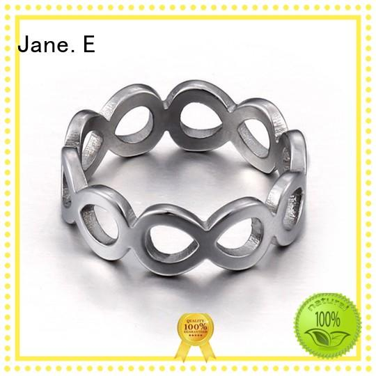 JaneE inlay custom stainless steel ring fashion design for men