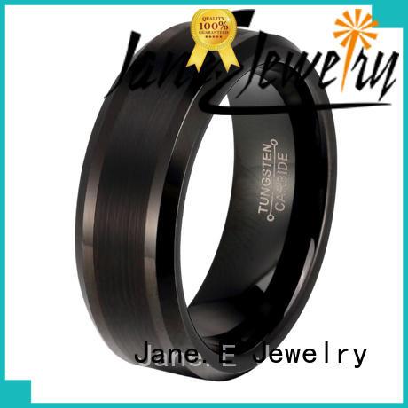 JaneE inlay brushed mens tungsten carbide wedding bands matt for gift