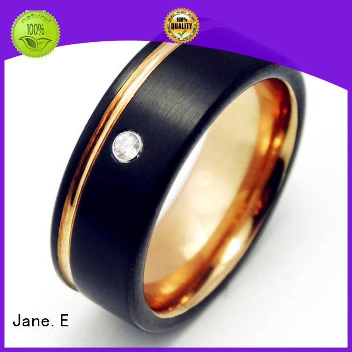 traditional mens tungsten ring meteorite engraved for wedding