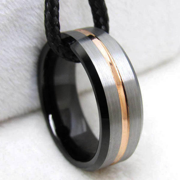 shiny polished wood inlay wedding band meteorite exquisite for wedding-2