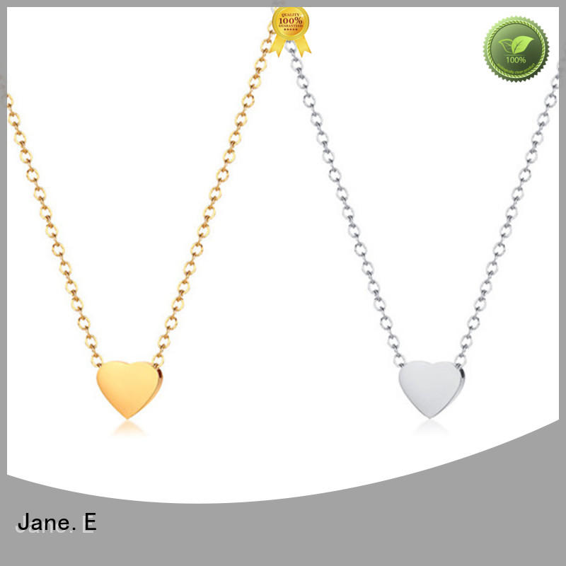 JaneE letter engraved mens stainless steel necklace pendants polished surface for gift