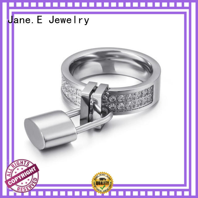 JaneE AAA CZ Stones stainless steel cz rings multi colors for weddings