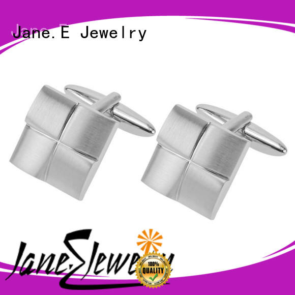 JaneE etched logo stainless steel cufflink luxury for gifts