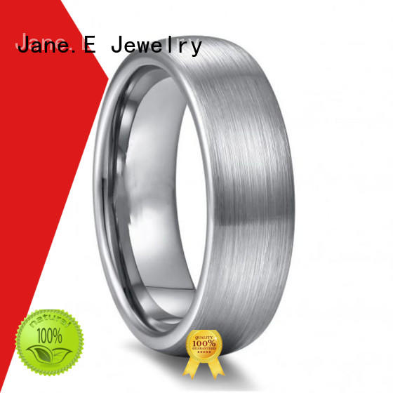 JaneE shiny polished tungsten gold wedding bands meteorite for gift
