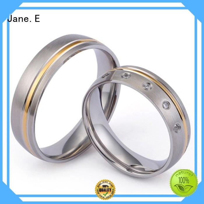 JaneE 316l stainless steel custom titanium wedding bands simple for anniversary