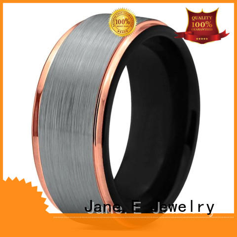 JaneE shiny polished personalized tungsten rings two tones for gift