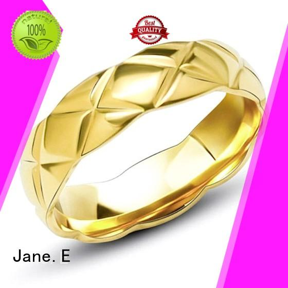 JaneE milgrain women's black stainless steel rings fashion design for decoration