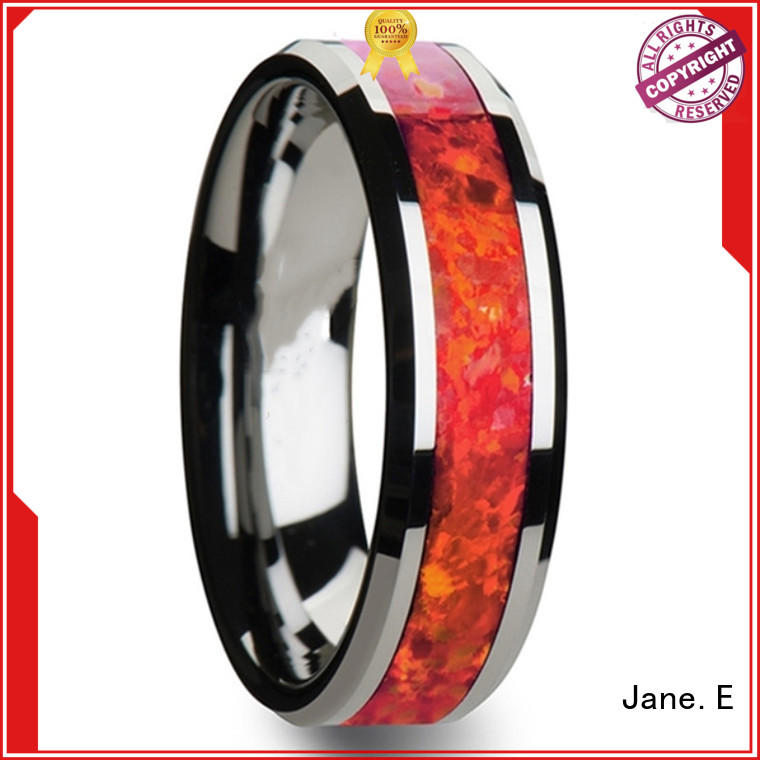 JaneE red opal tungsten carbide mens rings exquisite for gift