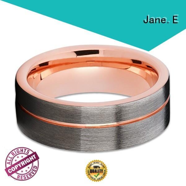 JaneE traditional mens tungsten ring meteorite for wedding