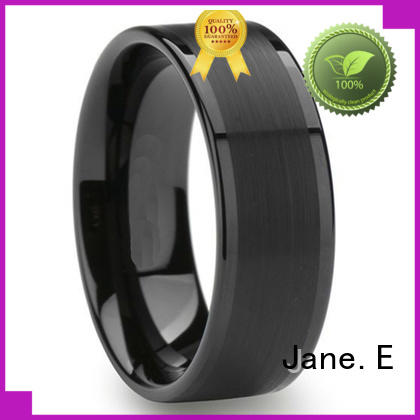 JaneE shiny polished mens wedding rings tungsten engraved for wedding