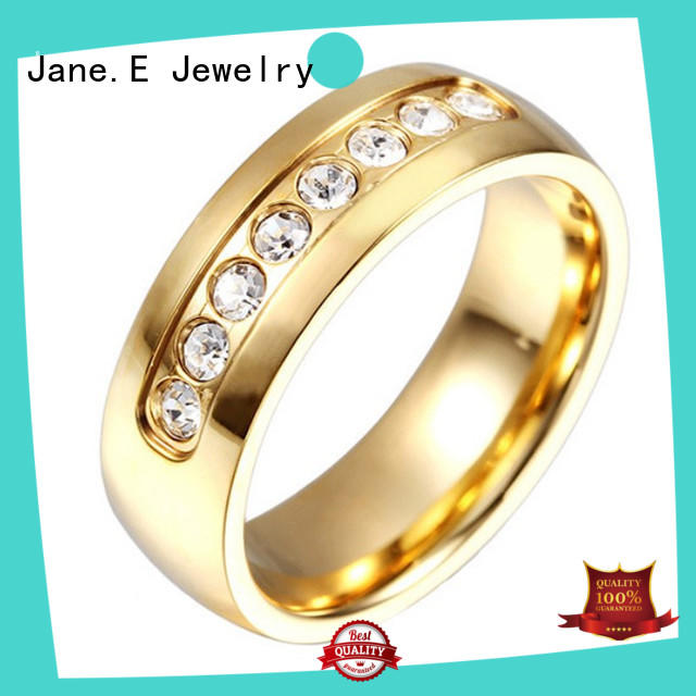 JaneE plating surgical steel engagement rings fashion design for men
