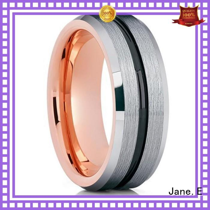 JaneE inlay brushed tungsten rings for men engraved for gift