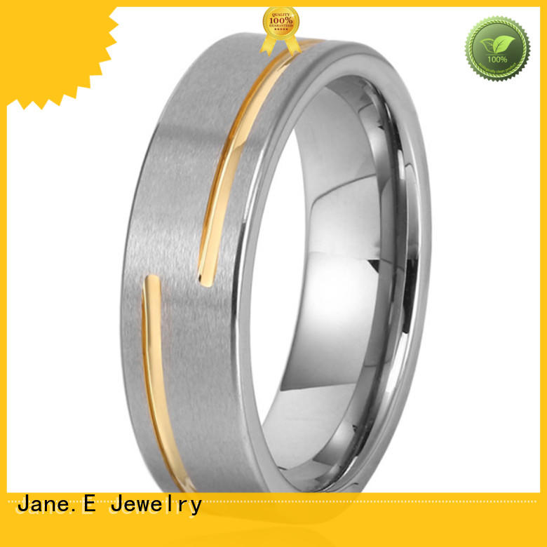 JaneE inlay brushed tungsten engagement rings exquisite for gift