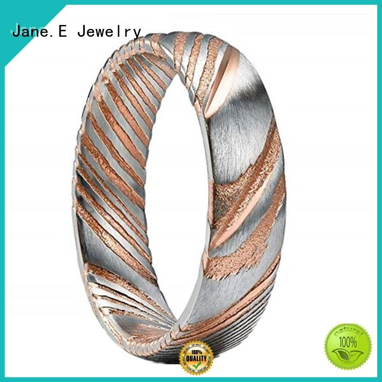 JaneE PVD/Ion plating damascus steel engagement ring wholesale for inlay