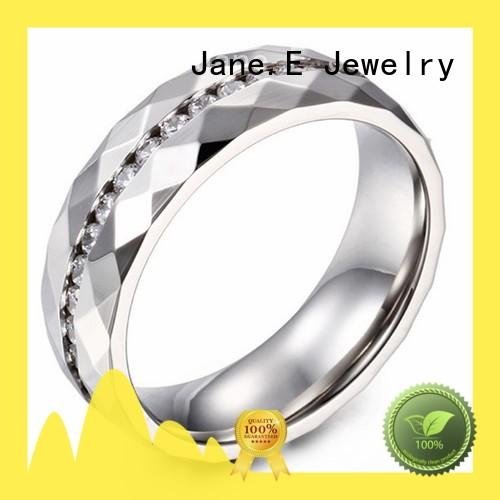 JaneE 18k gold stainless steel couple rings fashion design for men
