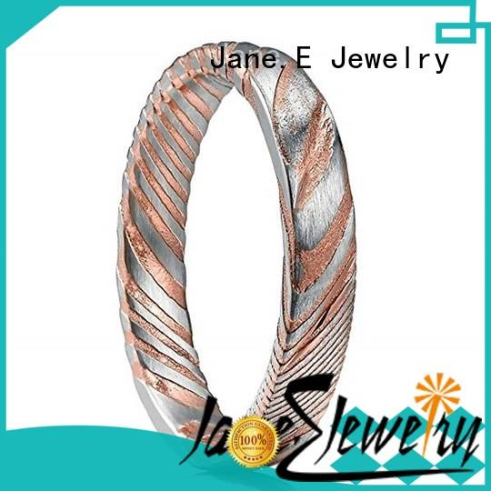 JaneE silver wood grain damascus steel ring PVD/Ion plating for inlay