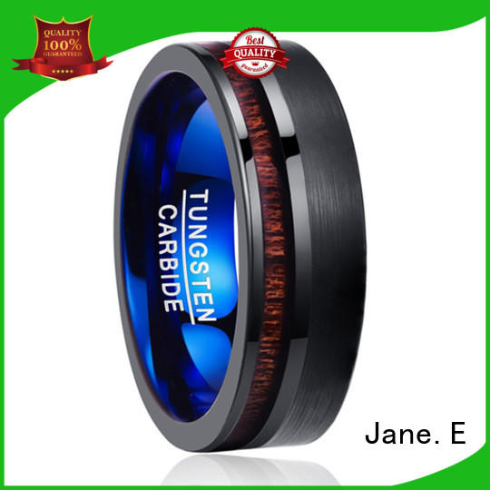 red opal blue tungsten ring engraved for wedding JaneE