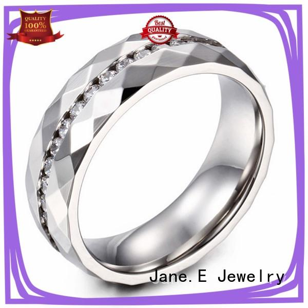 JaneE milgrain stainless steel couple rings top quality for decoration