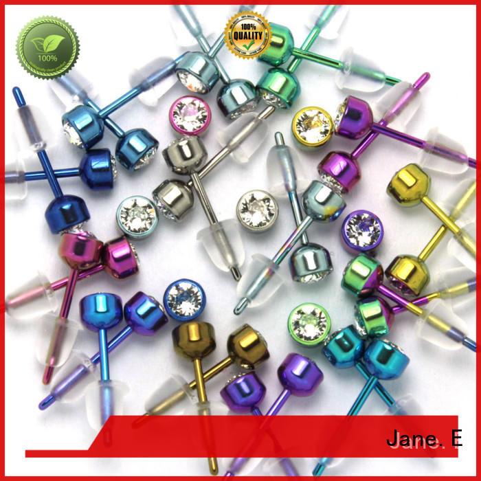 JaneE rainbow titanium stud earrings hot selling for gift