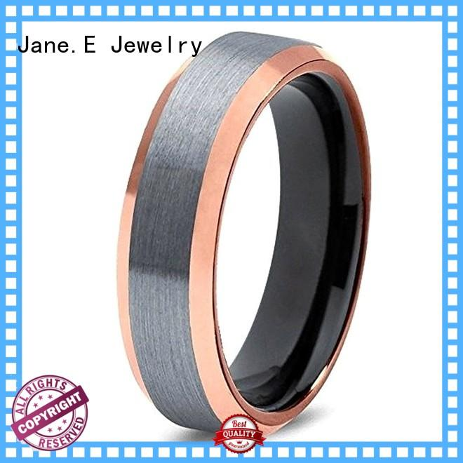 JaneE inlay brushed tungsten ring price engraved for gift