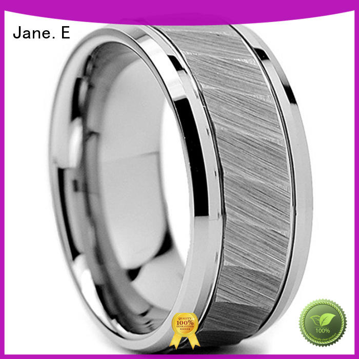 JaneE two tones engraved tungsten rings exquisite for engagement