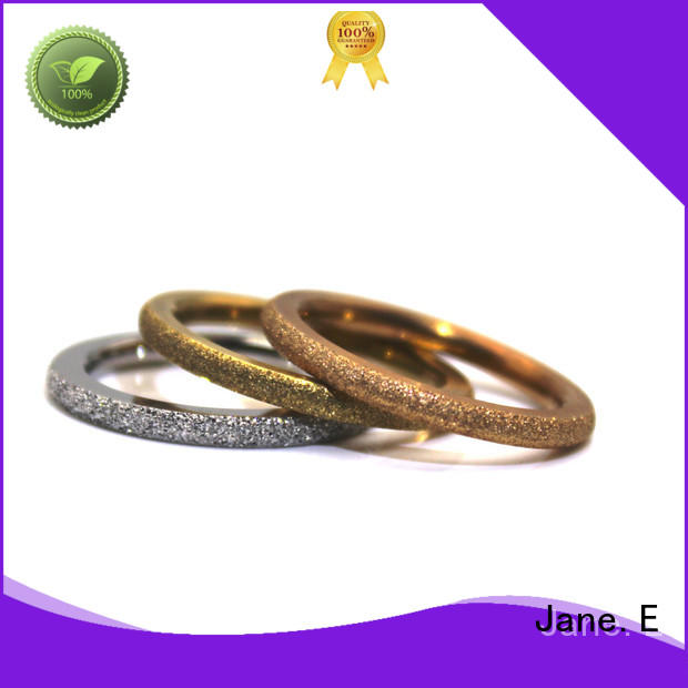 JaneE AAA CZ Stones custom stainless steel ring multi colors for decoration