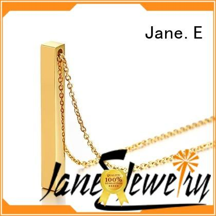 JaneE letter engraved stainless steel necklaces wholesale different dimension for decoration