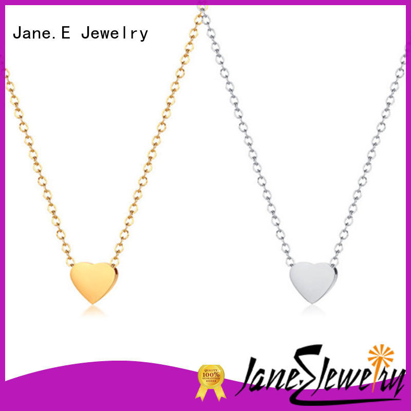 JaneE classic black stainless steel necklace factory direct for gift
