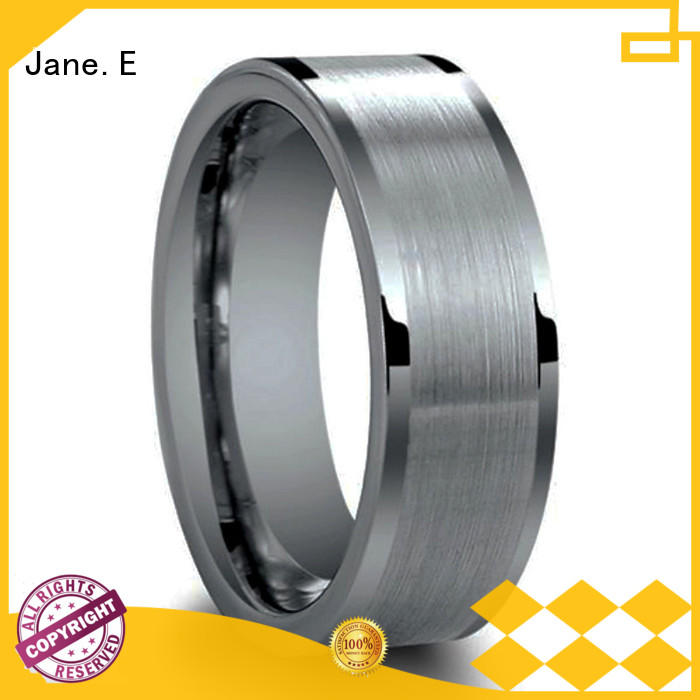 inlay brushed wood tungsten ring two tones for gift JaneE