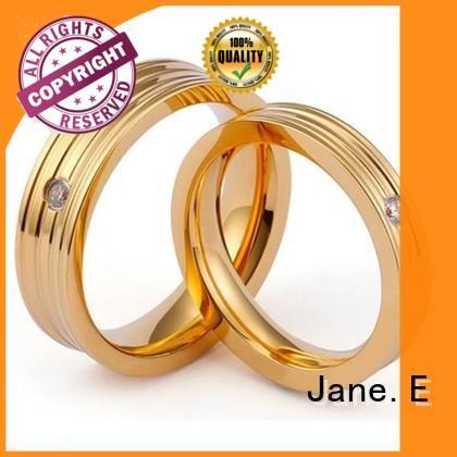 JaneE plating women's stainless steel wedding rings fashion design for men