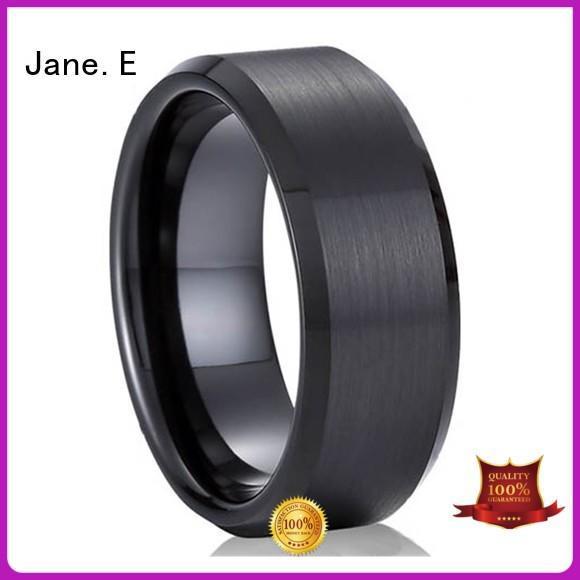 JaneE square edges women's stainless steel wedding rings multi colors for men
