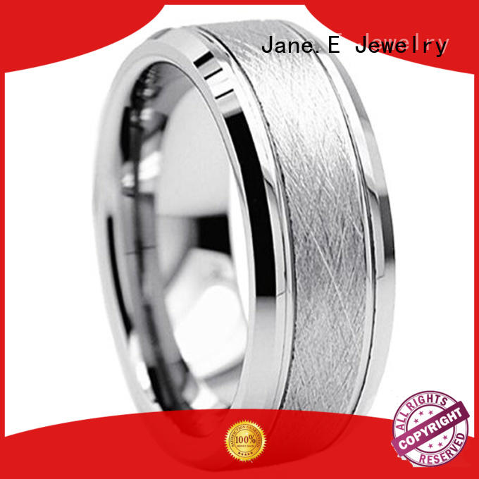 JaneE traditional mens wedding rings tungsten engraved for engagement