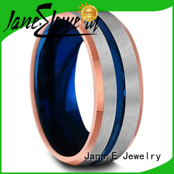 JaneE shiny polished tungsten band rings engraved for engagement