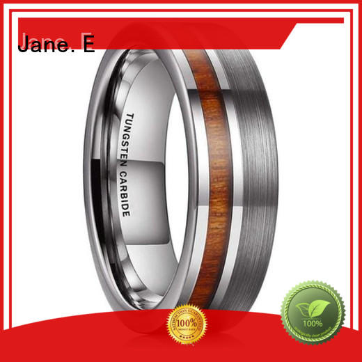 JaneE meteorite tungsten wedding bands for her exquisite for engagement