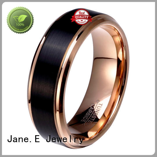 JaneE traditional black tungsten carbide rings exquisite for wedding