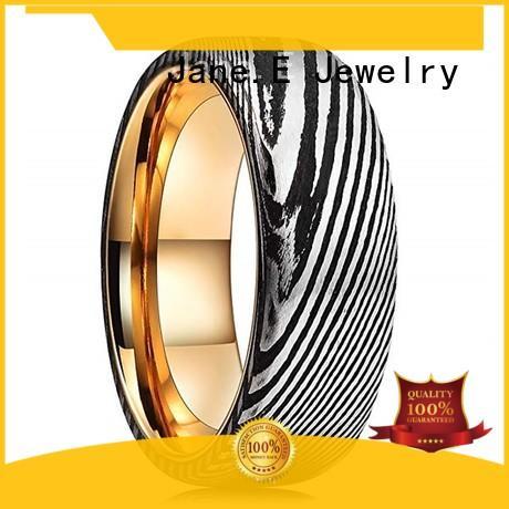 JaneE IP black plated damascus steel mens wedding ring wholesale for wedding