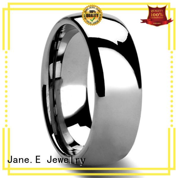 JaneE unique design mens gold tungsten wedding bands exquisite for gift