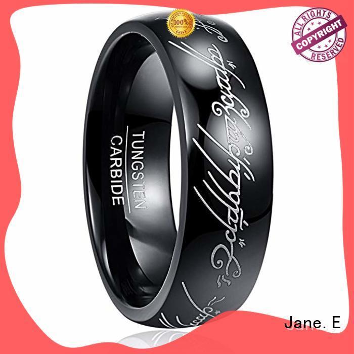 JaneE unique design tungsten ring engraved for wedding