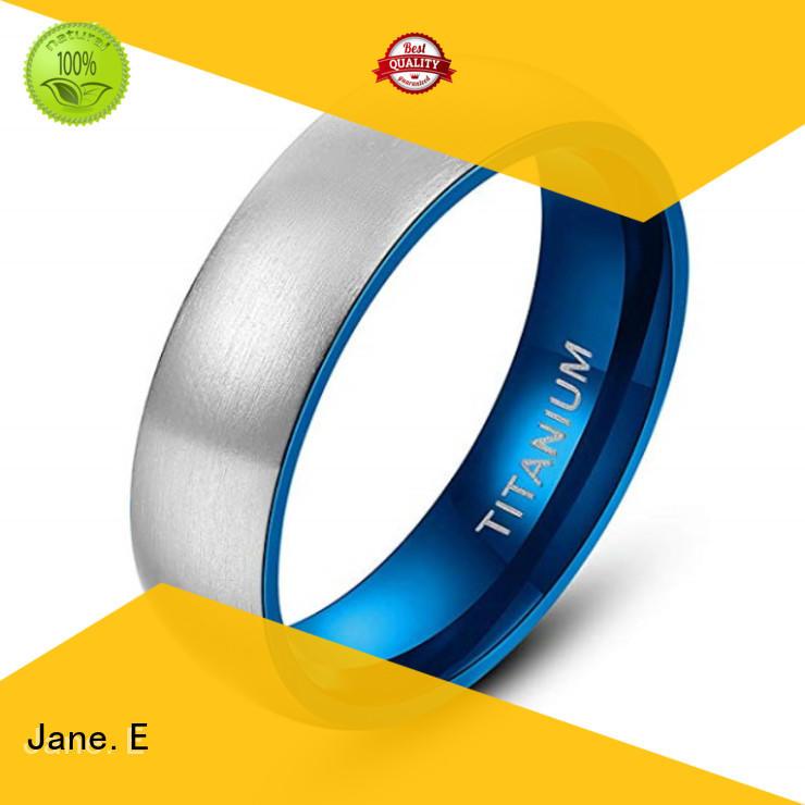JaneE sparkle sandblasting brushed titanium wedding ring wholesale for engagement
